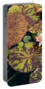 Waterlilies In A Garden Pool Portable Battery Charger