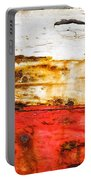 Weathered With Red Stripe Portable Battery Charger by Silvia Ganora