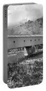 West Cornwall Connecticut Covered Bridge Black And White Portable Battery Charger