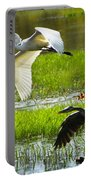 White And Grey Herons In Flight Portable Battery Charger