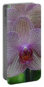 White And Pink Orchid Portable Battery Charger