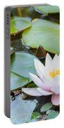 White And Pink Water Lily Portable Battery Charger