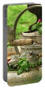 White Crowned Sparrows On The Flower Pot  Portable Battery Charger