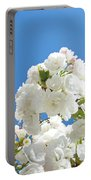 White Floral Blossoms Art Prints Spring Tree Blue Sky Portable Battery Charger