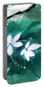 White Flowers Portable Battery Charger by Anil Nene