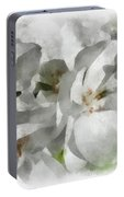 White Geraniums - Watercolor Portable Battery Charger