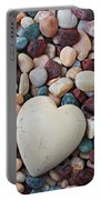 White Heart Stone Portable Battery Charger