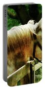 White Horse Closeup Portable Battery Charger