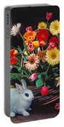 White Rabbit By Basket Of Flowers Portable Battery Charger