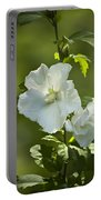 White Rose Of Sharon Portable Battery Charger by Teresa Mucha