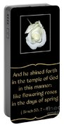 White Rose With Bible Verse From Sirach Portable Battery Charger