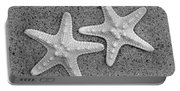 White Starfish In Blackaand White Portable Battery Charger