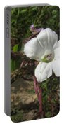 Small White Morning Glory Portable Battery Charger