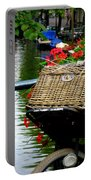Wicker Bike Basket With Flowers Portable Battery Charger