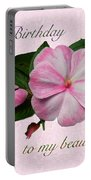 Wife Birthday Greeting Card - Pink Impatiens Blossom Portable Battery Charger