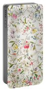 Wild Flowers Design For Silk Material Portable Battery Charger