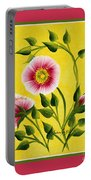 Wild Roses On Yellow With Borders Portable Battery Charger