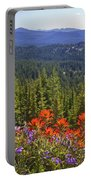 Wildflowers And Mountaintop View Portable Battery Charger by Ellen Thane and Photo Researchers