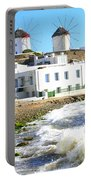 Windmills On Mykonos Portable Battery Charger