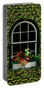 Window On An Ivy Covered Wall Portable Battery Charger