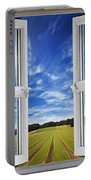 Window View Onto Arable Farmland Portable Battery Charger