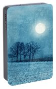 Winter Moon Over Farm Field Portable Battery Charger