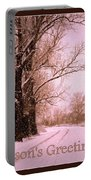 Winter Pink Season's Greetings Portable Battery Charger
