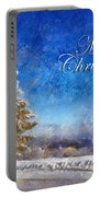 Wintry Christmas Tree Greeting Card Portable Battery Charger by Lois Bryan