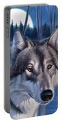 Wolf In Moonlight Portable Battery Charger