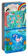 Woman And Blue Elephant Beside The Lake Portable Battery Charger