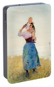 Woman And Child In A Meadow Portable Battery Charger