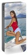 Woman Boating At Kaneohe Portable Battery Charger