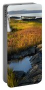 Woman By Boat On Grassy Shore Portable Battery Charger