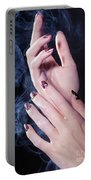 Woman Hands In A Cloud Of Smoke Portable Battery Charger