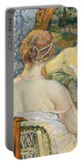 Woman In A Mirror Portable Battery Charger