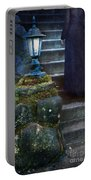Woman In Dark Gown On Old Staircase Portable Battery Charger