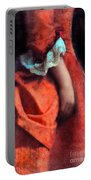 Woman In Red 18th Century Gown Portable Battery Charger