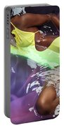 Woman In Swimsuit Lying In Water Portable Battery Charger