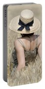 Woman On The Wheat Field Portable Battery Charger