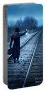 Woman On Tracks Night Portable Battery Charger