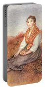 Woman With A Bundle Of Firewood Portable Battery Charger
