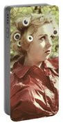 Woman With Rain Coat And Curlers Portable Battery Charger by Joana Kruse
