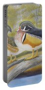 Wood Duck Pair At The Lake Portable Battery Charger