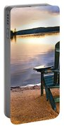 Wooden Chair At Sunset On Beach Portable Battery Charger