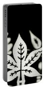 Wooden Leaf Shapes In Black And White Portable Battery Charger