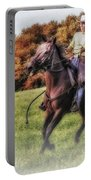 Wrangler And Horse Portable Battery Charger by Susan Candelario