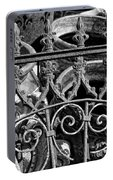 Wrought Iron Gate And Pots Black And White Portable Battery Charger