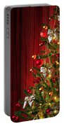 Xmas Tree On Red Portable Battery Charger by Carlos Caetano