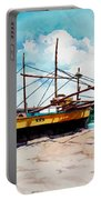 Yellow Boat Docking On The Shore Portable Battery Charger