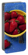 Yellow Bowl Of Strawberries Portable Battery Charger